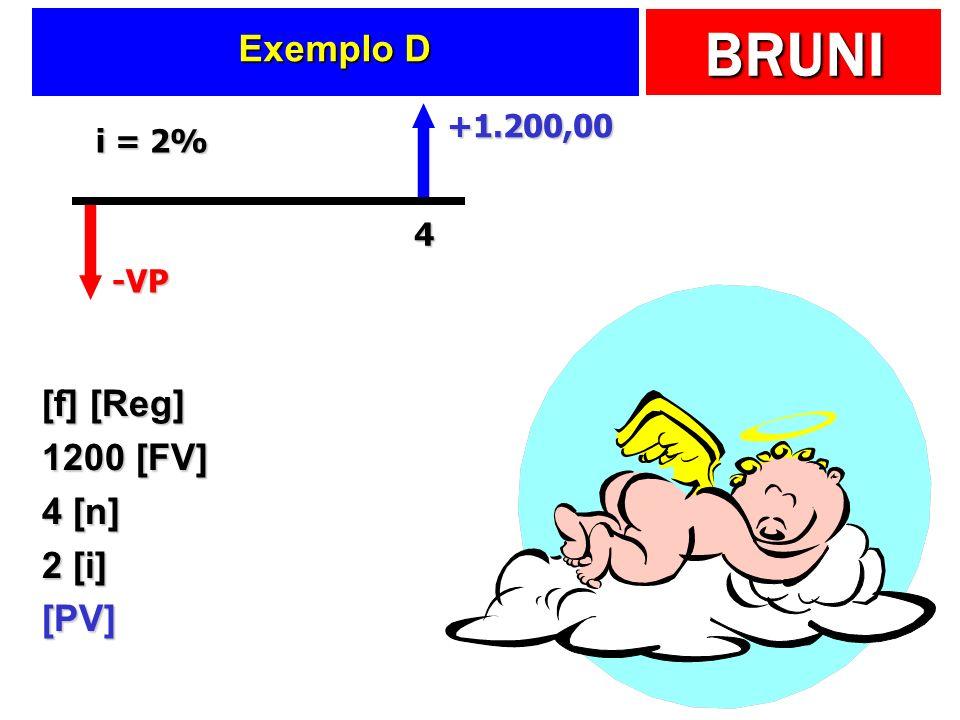 Exemplo D +1.200,00 i = 2% 4 -VP [f] [Reg] 1200 [FV] 4 [n] 2 [i] [PV]